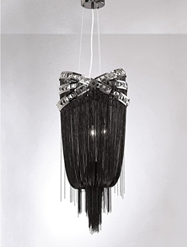 (Wilshire BLVD. Collection Black Steel Chain Foyear Hanging Fixture)