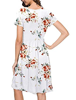 AUSELILY Spaghetti Strap Summer Dresses for Women Sexy Floral Beach Bikini Swimwear Cover up Floral(XL,Rose White)
