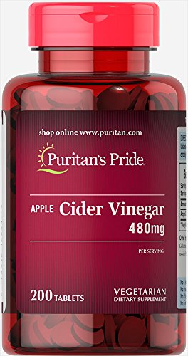Puritan's Pride Apple Cider Vinegar 480 mg-200 Tablets Apple Cider Vinegar 200 Tablets