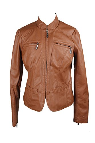 Jou Jou Brown Faux-Leather Motorcycle Jacket S