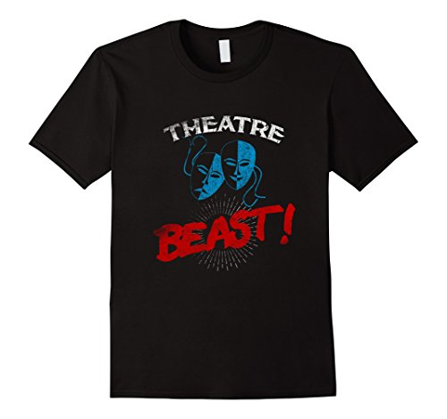 Mens Theatre Beast T shirt Drama Actor and Actress Gift Tee Mask Large Black - Actress Gift