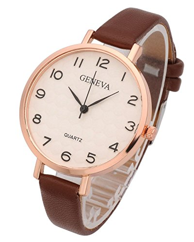 Top Plaza Womens Ladies Analog Quartz Wrist Watch - Fashion Simple Watch with Thin Brown Leather Band Arabic Numerals
