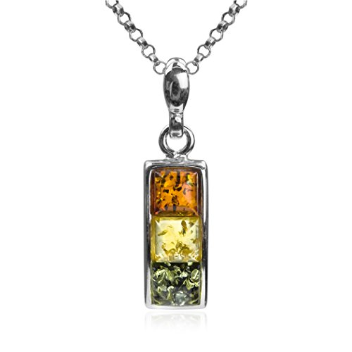 Sterling Silver Multicolor Amber Square Pendant Chain 18 Inches