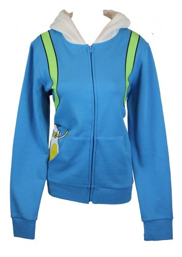 Adventure Time Girls Juniors Hoodie Sweatshirt - Fiona Costume With Cake Pocket (XX-Large) Blue