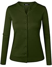 BILY Women's Unique Button Long Sleeve Soft Knit Cardigan Sweater
