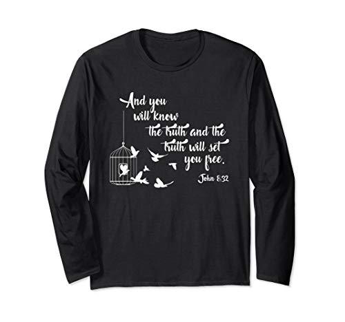 Christian Bible Bird Cage Truth Shall Set You Free Birds Long Sleeve T-Shirt
