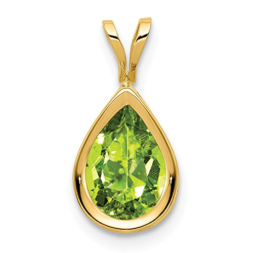 14k Yellow Gold 9x6mm Pear Green Peridot Bezel Pendant Charm Necklace Gemstone Fine Jewelry Gifts For Women For Her