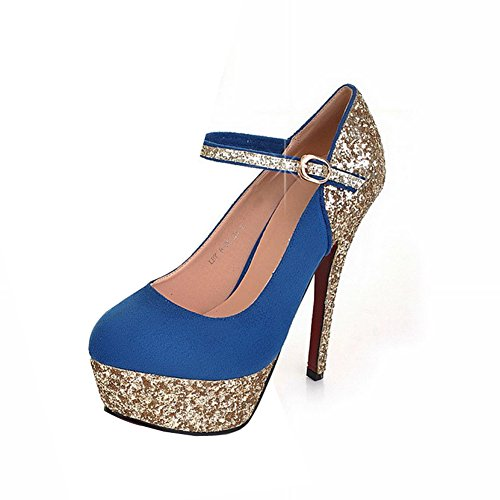 BalaMasa Womens Buckle High Heels Assorted Colors Pumps Shoes Blue TQjsR
