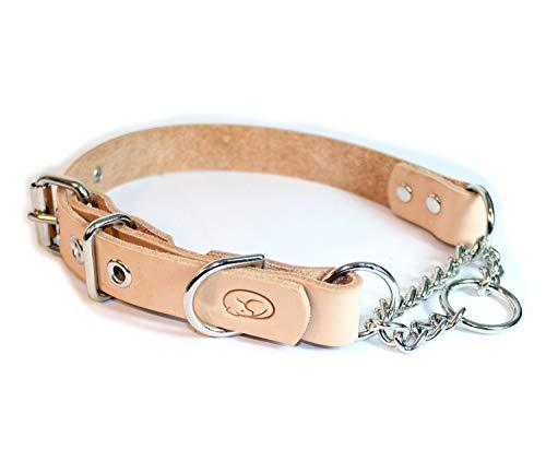 sleepy pup Adjustable Leather Martingale Chain Dog Collar (Medium: 14-18, Natural)