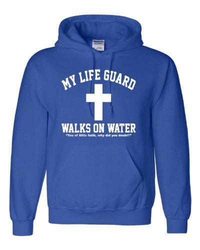 (Medium Royal Blue Adult My Life Guard Walks On Water Christian Easter Religious Facebook Hooded Sweatshirt)