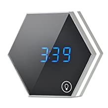 Tumao Mirror Rechargeable Alarm Clock Smart Led Digital Display with Cosmetic Mirror, Night Light, Thermometer for Desk or Room Decoration (Silver)