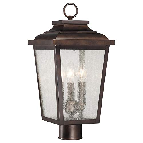 Minka Lavery 72176-189 Irvington Manor 3 Light Outdoor Post Lamp in Chelesa Bronze with Clear Seeded glass