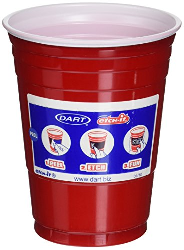 Dart DRC16ERL24 Etchable Party Cups, Red (Pack of 24)