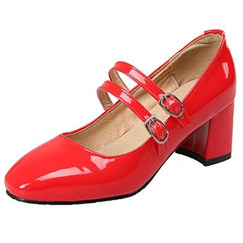 AIYOUMEI Damen Lack Knöchelriemchen Mary Jane Pumps mit Schnalle Modern und 6cm Absatz Blockabsatz Modern Schnalle Schuhe Rot dec0d9