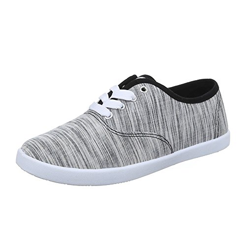 Ital-Design Damen Schuhe, C27-20, Freizeitschuhe Slipper Sneakers Schwarz Grau
