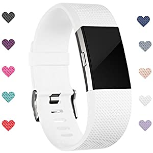 Wepro Fitbit Charge 2 bands, Replacement for Fitbit Charge 2 HR Bands, Buckle, White, Large
