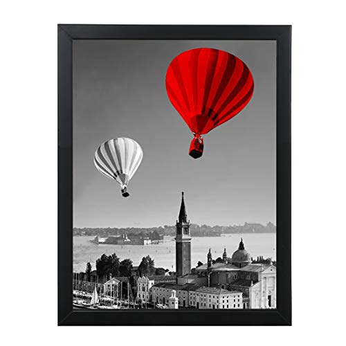 18x24 Black Picture Frames Wall Hanging Decor Solid Wood Display Poster Frame Without Mat ()