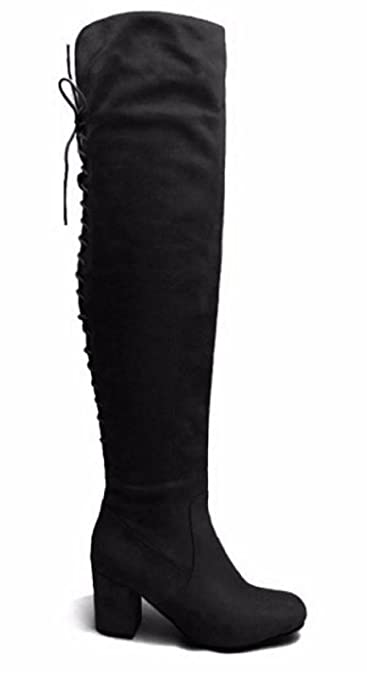 37c0033f275 Womens Ladies Back Lace Up Over The Knee Boots Shoes Mid Block High Heel  Suede  Black