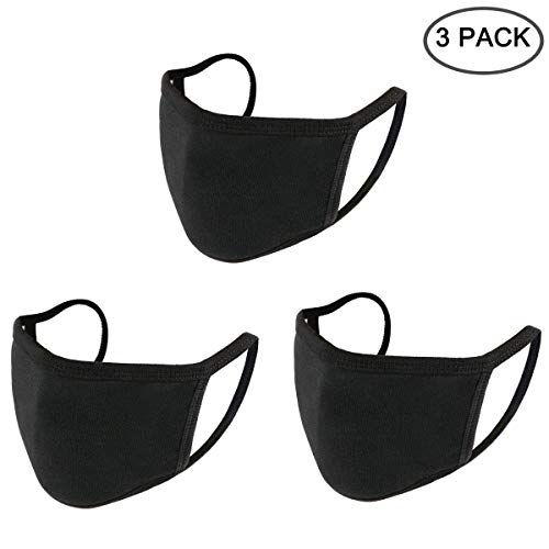 UNIME Anti-Dust Mouth Mask Cotton Mouth Mask,Unisex Black Face Mask Reusable Fashion Mask Anime Face Mask Washable Mask Reusable Mask for Cycling Camping Travel for Men Women,Pack of 3