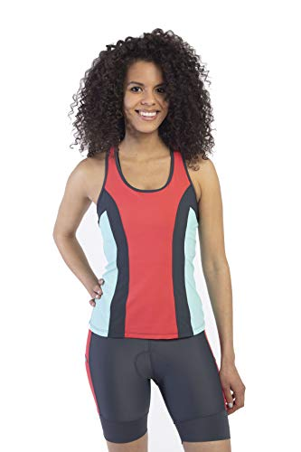 MooMotion Womens Racerback Tri Top - Built in Bra - Back Pocket - Womens Triathlon Top - Made in The USA X-Large Coral (Triathlon Bra Top)