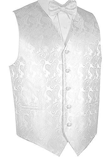 Brand Q Men's Formal Tuxedo Vest & Bow-Tie Set-White Paisley-M