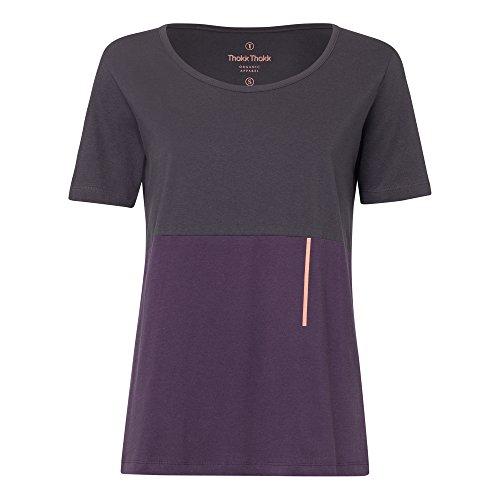 Auslauf THOKKTHOKK Damen T Shirt Dunkelgrau Violett Bio Fair