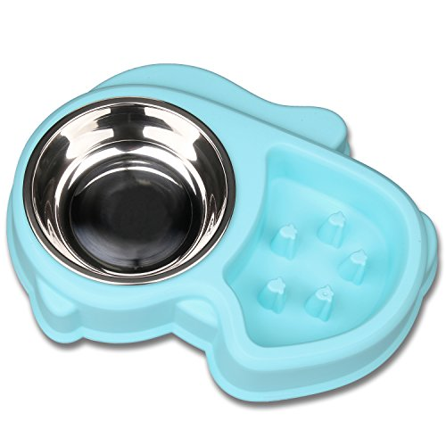 Miaosun Dog Bowl Set Slow Feeder and Stainless Steel Bowl for Feeding and Watering Interactive Bloat Stop Dog Bowl (blue)