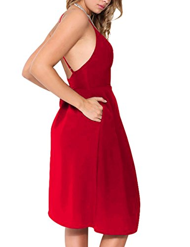 Deep Straps V Dress with Neck Pocket Dresses Red Backless Women's Bright Adjustable Sexy Party Summer Sleeveless Spaghetti Eliacher 5pYwfEx5