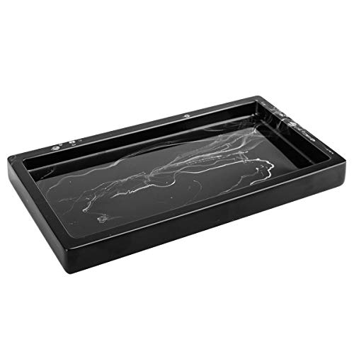 Luxspire Toilet Tank Storage Tray, Mini Bathroom Vanity Organizer Rectangular Resin Tray Plate Jewelry holder for Tissues, Candles, Soap, Towel, Plant, etc - Ink Black