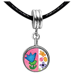 Chicforest Silver Plated Flowers With Butterfly And Easter Eggs Photo Red Zircon Crystal July Birthstone Flower dangle Charm Beads Fits Pandora Charm