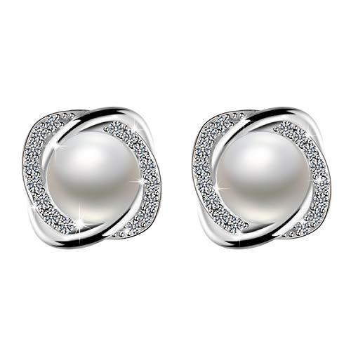 Amilril Pendientes Mujer, Pendientes Perlas Plata de Ley 925 Clásico Joyería para, Regalos Navidad a buen precio