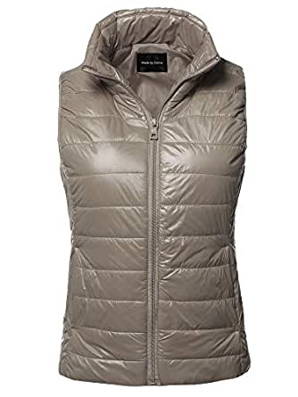 Made by Emma Casual Light Weight Quilted Padding Vest Dark Khaki S