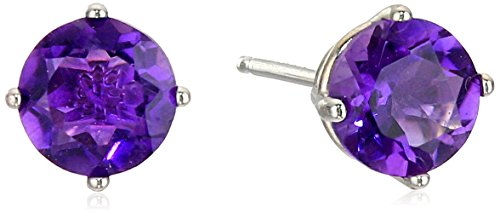 Amethyst Round Stud Earrings in 10k White Gold (White Amethyst)