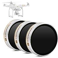 LENSKINS 3-Pack Drone MRC ND4/ ND8/ ND16 Filter for DJI...