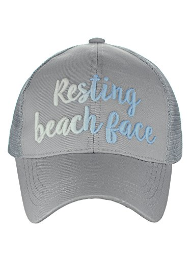 C.C Ponycap Color Changing 3D Embroidered Quote Adjustable Trucker Baseball Cap, Resting Beach Face, Gray
