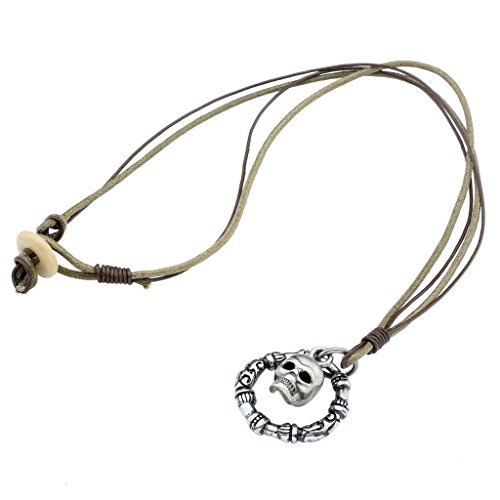 Zysta Men's Vintage Military Army Style Genuine Leather Metal Skull Dog Tag Pendant Necklace Chain (Skull Pendant Leather)