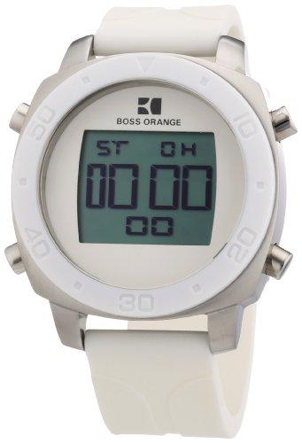 Hugo Boss Orange Digital Dial White Rubber Mens Watch 1512677