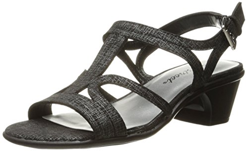 Easy Street Women's Britney Dress Sandal, Black/Metallic Print, 7.5 N US