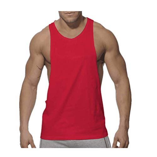(POQOQ Men's Workout Tank Top Sleeveless Muscle Shirt Cotton Gym Training Bodybuilding XL Red)