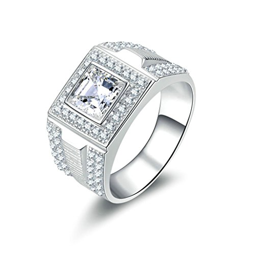 Bishilin Silver Plated Princess Cut Cubic Zirconia Inlaid Wedding Rings And Engagement Rings For Him Size BISHILIN5X6JRS237M13 by Ringfashion (Image #5)