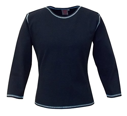 Baby'O Women's Cotton Jersey Knit 3/4 Sleeve Crew Neck Top, BLUE, (Jersey Crewneck Top)