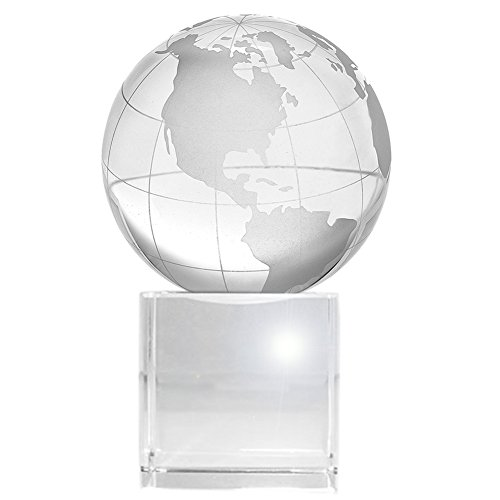 Amlong Crystal World Globe (2.2 Diameter) On Crystal Display Stand Base - 3.75 Inch Tall