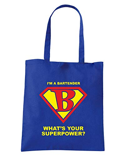 Borsa BARTENDER Shopper BEER0176 Blu Royal SUPERHERO rPrnSTxw