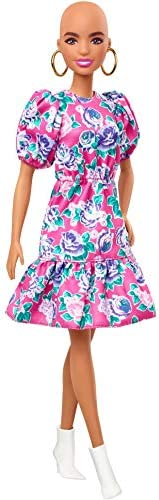 Barbie Fashionistas Doll with No-Hair Look Wearing Pink Floral Dress, White Booties & Earrings, Toy for Ki