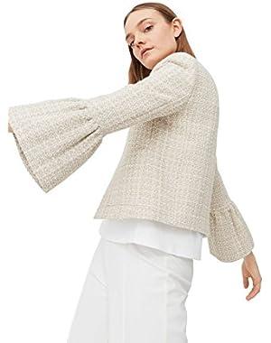 Mango Women's Flared Tweed Jacket