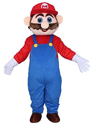 Sinoocean Super Mario Adult Mascot Costume Cosplay Fancy Dress Outfit (Super Mario Mascot)