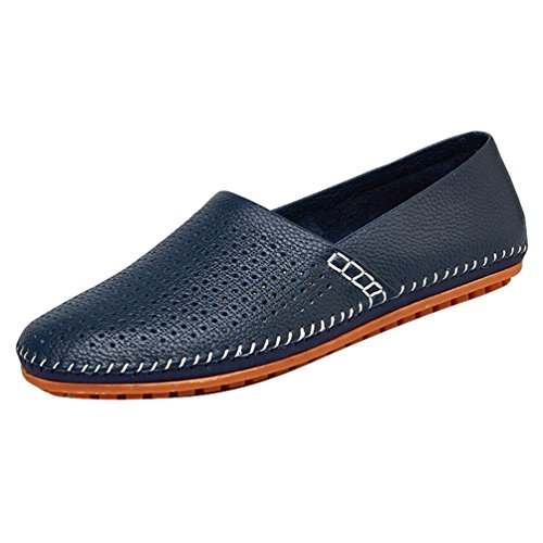 Baymate Mens Casual PU Loafers Comfortable Breathable Boat Shoes Blue m7pWOB