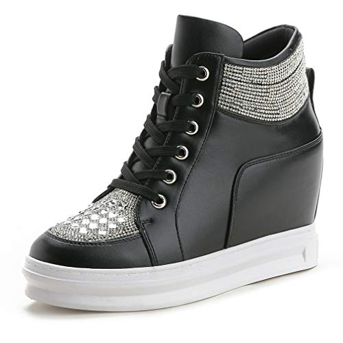 CYBLING Women Fashion Rhinestone Sneakers Casual Lace Up High Top Hidden Heel Wedges Platform Shoes Black