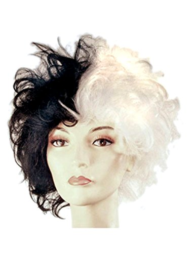 Cruella Deville Black and White Dalmation Costume Wig for Women and Girls (Adult Cruella De Vil Costume)