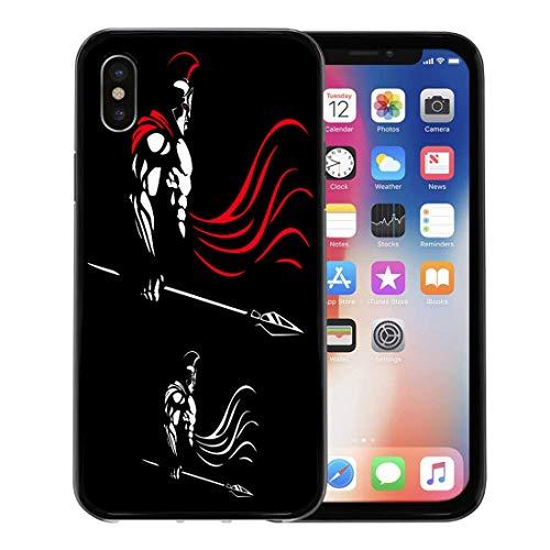 Semtomn Phone Case for Apple iPhone Xs case,Greek of Spartan Warrior Color Versions God War Bodybuilder Fantasy for iPhone X Case,Rubber Border Protective Case,Black -